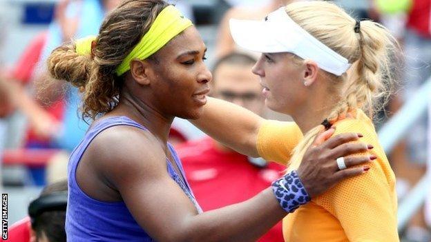Serena Williams and Caroline Wozniacki