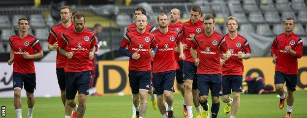 The Scotland squad in training