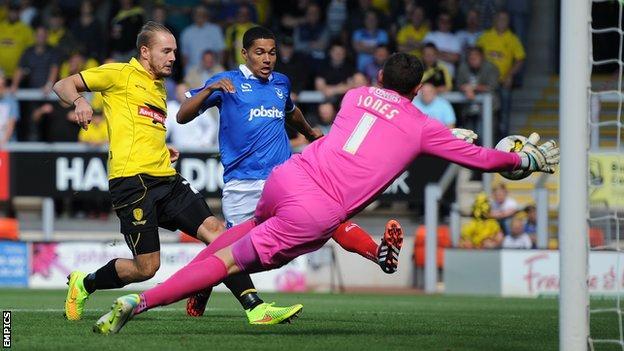 Adam McGurk scores the opener against Portsmouth