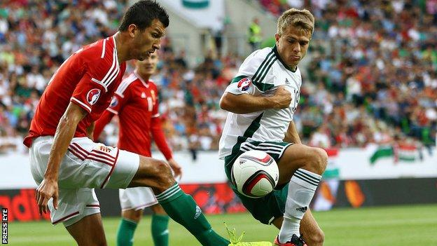 Hungary's Zoltan Liptak competes against Jamie Ward of Northern Ireland
