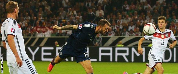 Steven Fletcher has a headed attempt for Scotland against Germany
