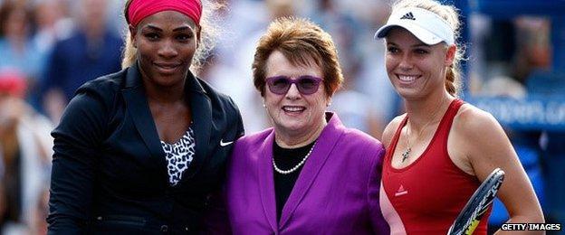 (From left to right) Serena Williams, Billie Jean King, Caroline Wozniacki