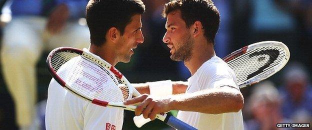 Novak Djokovic (left) with Grigor Dimitrov