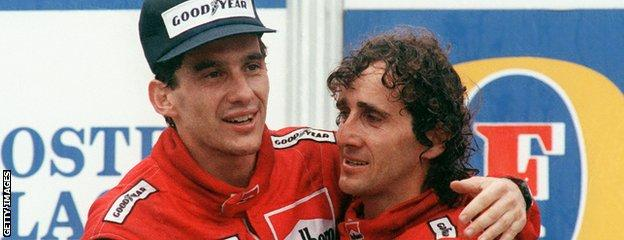 Alain Prost (right) and Ayrton Senna