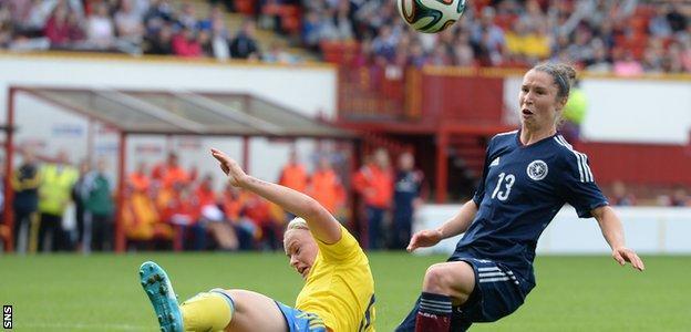 Jane Ross in action against Sweden
