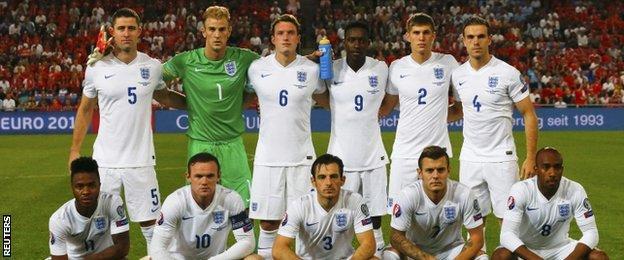 England team line up at St Jakob-Park