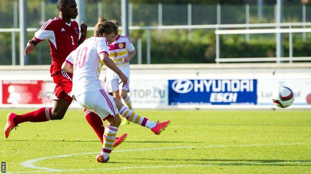 Ryan Gauld nets the opening goal for Scotland Under-21s in Luxembourg