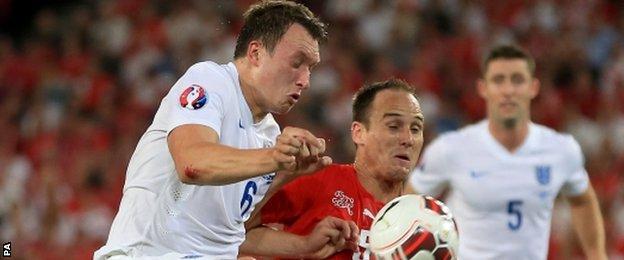 England defender Phil Jones (left)