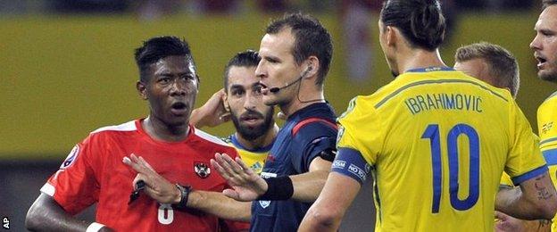 David Alaba and Zlatan Ibrahimovic argue dring the Euro 2016 qualifier