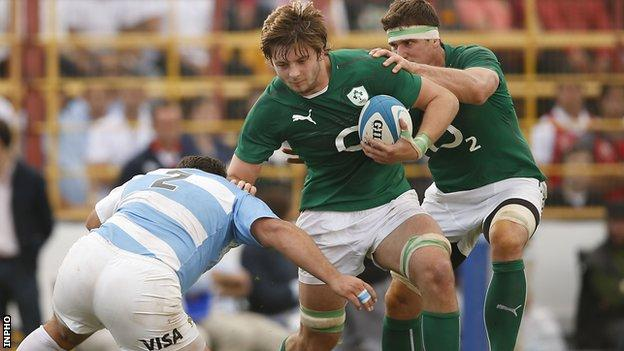 Iain Henderson charges forward for Ireland against Argentina in June