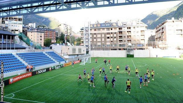 Wales players train at the Andorra National Stadium