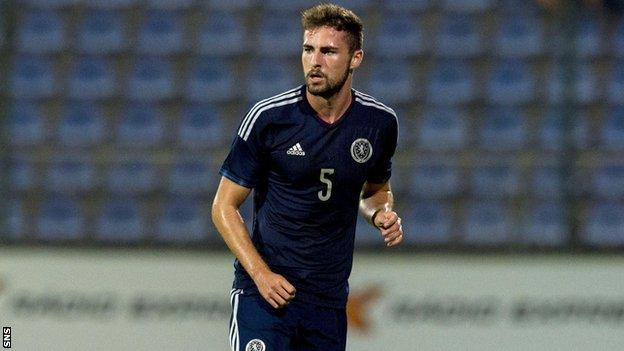Clark Robertson playing for Scotland Under-21s