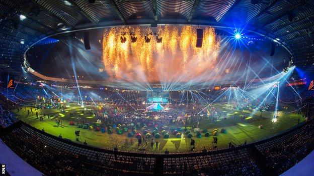 Hampden Park during the closing ceremony of the Glasgow 2014 Commonwealth Games