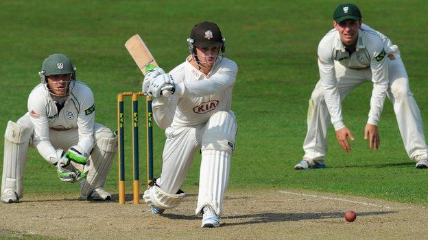 Jason Roy goes on the attack again at New Road, watched by keeper Ben Cox