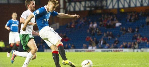 Lewis Macleod scores against Hibernian