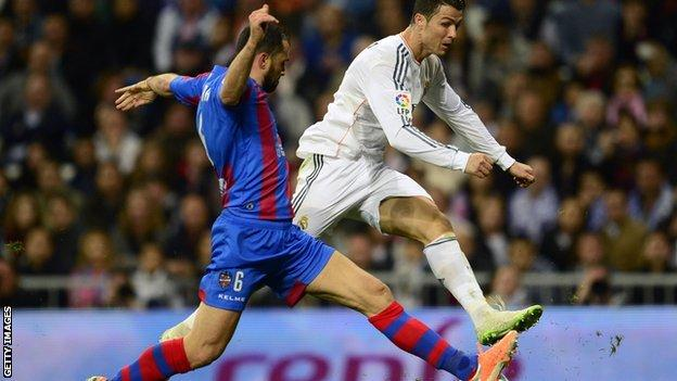 Miguel Pallardo denies Real Madrid superstar Cristiano Ronaldo during his time at Levante