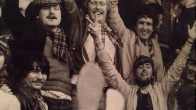 Chick Young at Wembley with the Tartan Army in the 1970s
