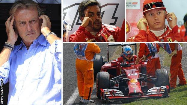 (left to right) Luca Di Montezemolo, Fernando Alonso and Kimi Raikkonen