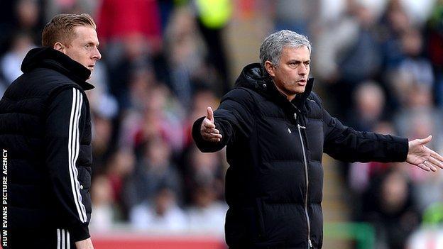 Swansea boss Garry Monk and Chelsea's Jose Mourinho