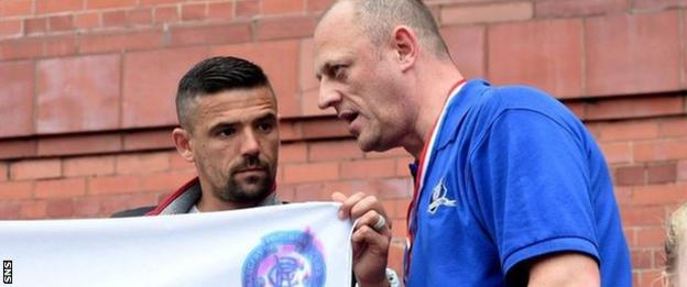 Former Rangers player Nacho Novo and Sons of Struth co-founder Craig Houston