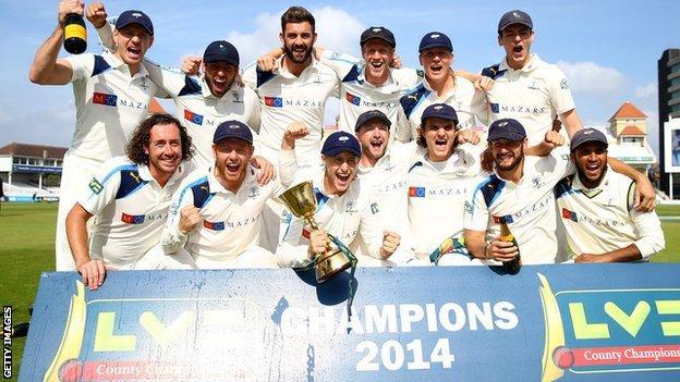 Yorkshire celebrate winning the County Championship