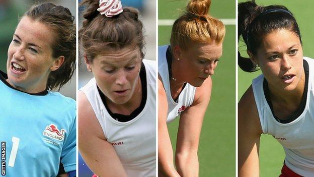 Maddie Hinch, Laura Unsworth, Nicola White and Sam Quek