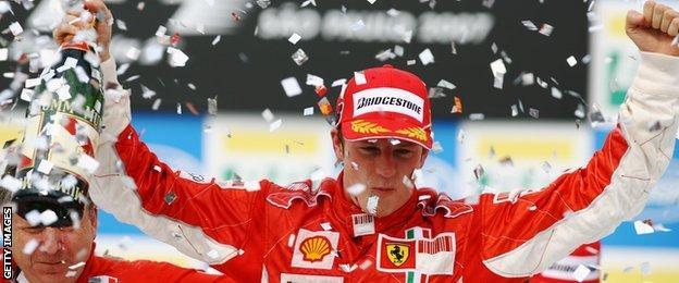 Kimi Raikkonen celebrates being World Champion in 2007.
