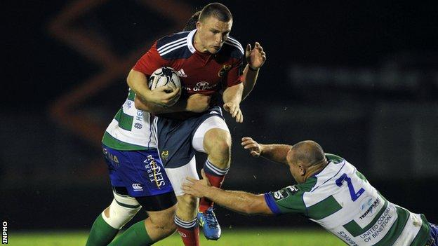 Andrew Conway in action for Munster against Treviso