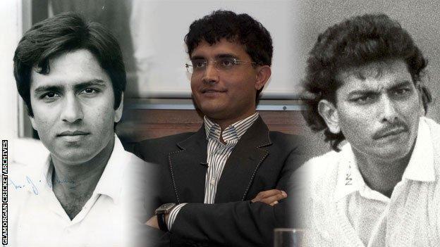 Majid Khan (L), Sourav Ganguly (C) and Ravi Shastri (R)