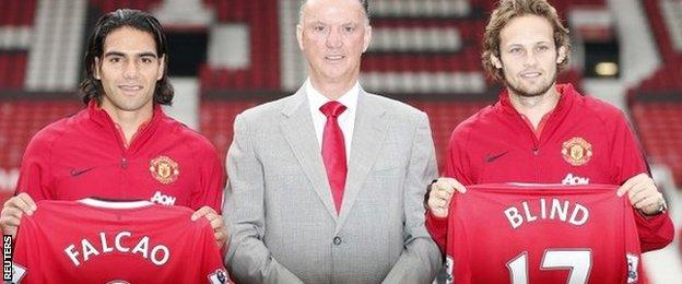 Radamel Falcao (left) and Daley Blind (right) with boss Louis van Gaal