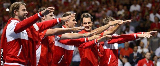 Switzerland celebrate after reaching the Davis Cup final