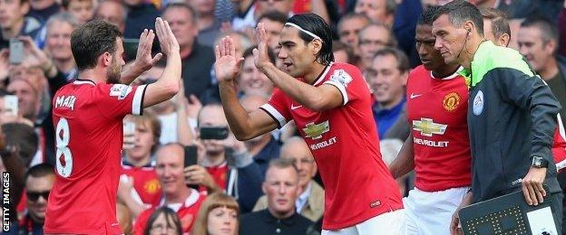 Radamel Falcao comes on for Juan Mata