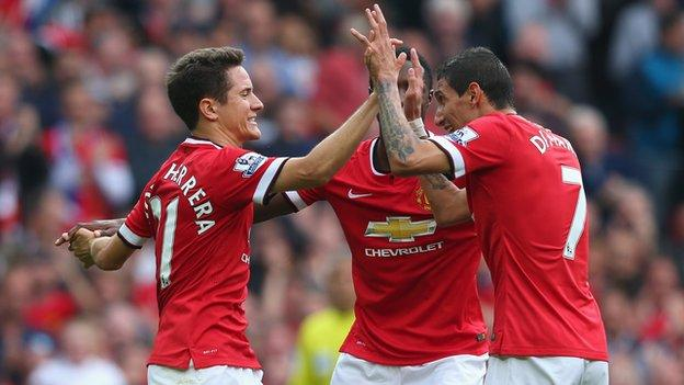 Ander Herrera (left) and Angel Di Maria (right) of Manchester United