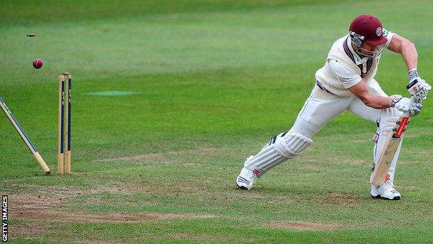 Nick Compton is bowled by Tim Murtagh