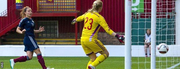 Rachel Corsie scores to make it 6-0 to Scotland against the Faroe Islands at Fir Park