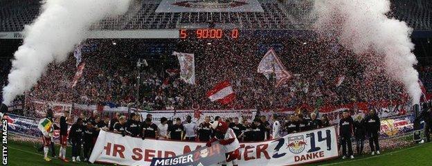 Salzburg celebrate at the Red Bull Arena