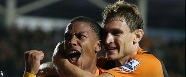 Abel Hernandez celebrates putting Hull ahead against West Ham