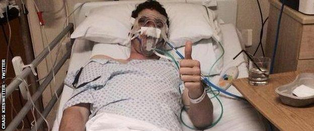Craig Kieswetter in hospital