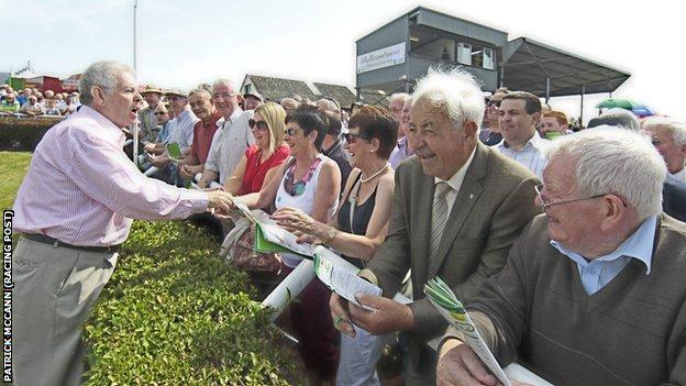 Oliver Brady entertains the crowds after winning with Imperial Shabra at Bellewstown