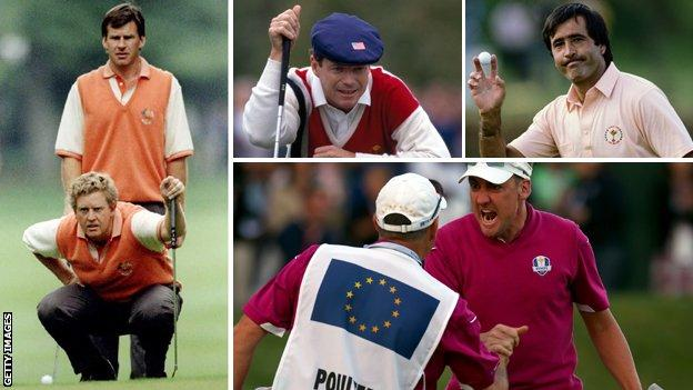 (from left, clockwise) Nick Faldo and Colin Montgomerie size up a putt, Tom Watson, Seve Ballesteros, Ian Poulter