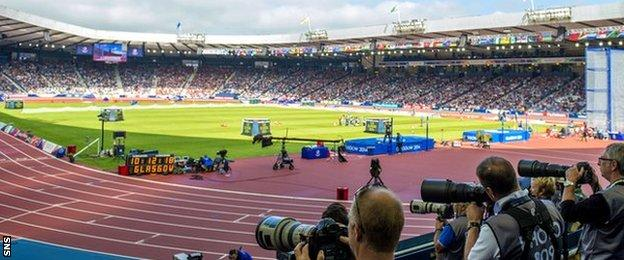Hampden was transformed into an athletics stadium for the Commonwealth Games