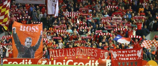 Anfield crowd for Liverpool v Ludogorets