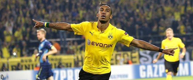 "Borussia Dortmund""s Pierre-Emerick Aubameyang celebrates scoring his side""s second goal against Arsenal"
