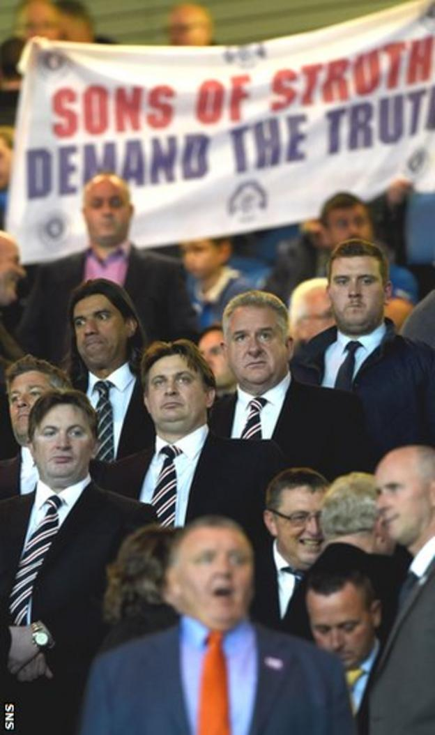 Rangers shareholders Sandy and James Easdale plus chief executive Graham Wallace were the subject of a banner protest at Ibrox