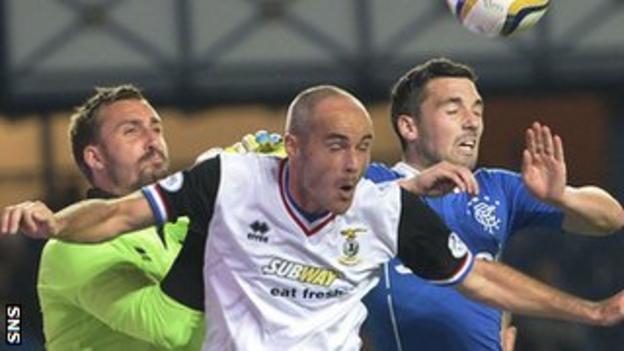 Inverness goalie Dean Brill and David Raven are put under pressure by Rangers striker Nicky Clark