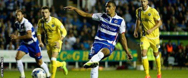 Nick Blackman scores from the spot for reading