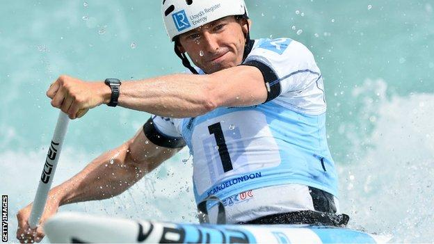 David Florence in action during the Canoe Single (C1) men at Lee Valley White Water Centre in London