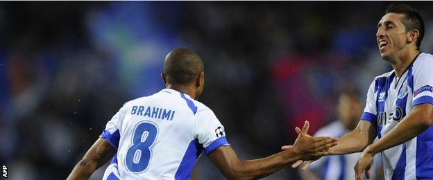 Porto's Yacine Brahimi celebrates scoring against Bate Borisov