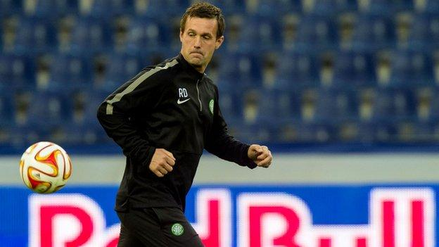 Celtic manager Ronny Deila trains his side in Austria ahead of their Europa League tie with FC Salzburg.