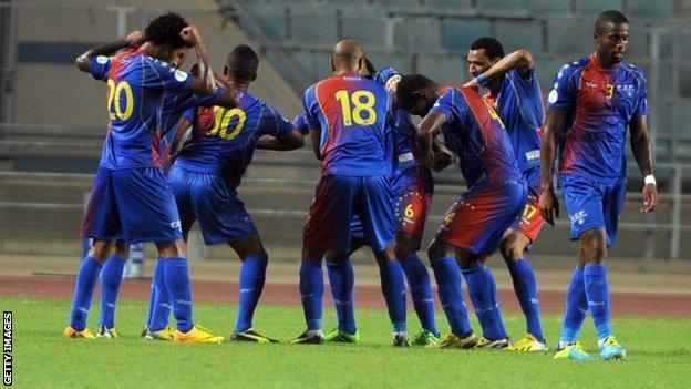 Cape Verde players celebrating